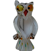 Vintage Lucite OWL Figural Carved Painted Pin Brooch