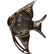 Vintage Coro Angel Fish Sterling Rhinestone Brooch Fur Clip Pin