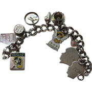 Vintage Charm Bracelet Sterling Green Bay Packers etc. Enamel