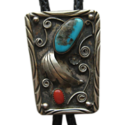 Vintage 1970's Navaho Bolo Tie Turquoise Coral Silver