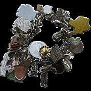 Vintage Sterling Charm Bracelet 30 Charms Enamel State Santa  ETC.
