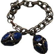 Vintage Trifari Dangle Bracelet Renaissance Collection Lapis Glass