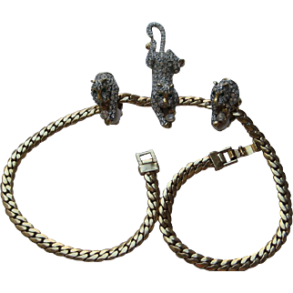 Vintage Cat Kitten PAVE Crystal Rhinestone Necklace Clip Earrings