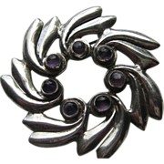 Vintage Mexico Taxco Modernist Pinwheel Amethyst Sterling Silver Pin Brooch