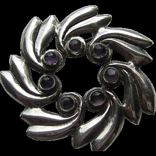 Vintage Mexico Taxco Modernist Pinwheel Amethyst Sterling Silver Pin Brooch