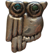 Vintage Mexico Taxco OWL Sterling Silver Turquoise Pin Brooch Modernism
