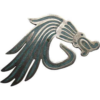 Vintage Mexico Taxco DRAGON Silver Turquoise Pin Brooch