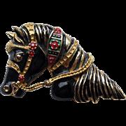 Vintage Carnival Horse Head Figural Enamel Pin Brooch