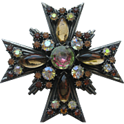 Vintage Florenza Maltese Cross Pendent Pin Brooch