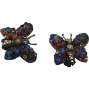 Vintage Forbidden Fruit BUTTERFLIES Lucite 1950's BOOK PIECE Rhinestone Clip Earrings