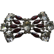 Vintage Art Deco BOW Ruby Red White Rhinesones Pin Brooch