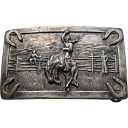 Vintage COWBOY Belt Buckle German Silver Brass