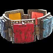 Vintage Egyptian Revival Enamel Lucite King Tut Style Bright Bracelet 1950's