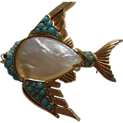 "Vintage Crown Trifari RARE ""Mini"" FISH Gold Plated Rhinestone Pin Brooch Signed Figural 1960's"