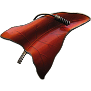 Vintage Norway O.F.Hjortdahl Modernist Enamel RED Guilloche Leaf Pin Brooch