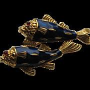 Vintage Crown Trifari FISH KOI Gold Plated Twin Fish Enamel Rhinestone Brooch pin