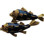 Vintage Crown Trifari FISH KOI Gold Plated Twin Fish Enamel Rhinestone Brooch pin