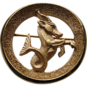 Vintage Crown Trifari Gold Plated Capricorn Zodiac Brooch pin