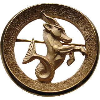 Vintage Crown Trifari Gold Plated Capricorn Zodiac Brooch pin