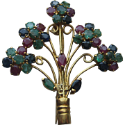 Vintage Asian Hong Kong 18k Floral Sapphire Ruby Emerald Brooch Pin