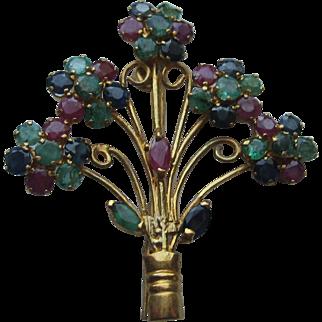 Vintage Asian Hong Kong 18k Floral Sapphire Ruby Emerald Brooch Pin
