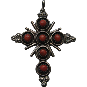 Vintage Navajo Cross Sterling Inlaid CORAL Floral Native American Signed Myra T.Qualo