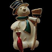Vintage Eisenberg Ice SNOWMAN Enamel Christmas Pin Brooch
