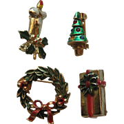 "Vintage Christmas Pins Set of 4 ""MINI"" Candle Wreath Christmas Tree Wrapped Present"