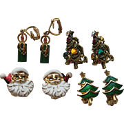 Vintage Christmas Tree Santa Clause Candle SET of 4 Clip Earrings Pakula Signed