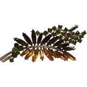 Vintage Crown Trifari LEAF Large 3-D Tiered Floral Abstract Brooch Pin 1950's