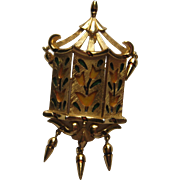 Vintage Crown Trifari L'Orient Lantern Pin Pendent Floral Yellow Tulips  1960's Signed Brooch