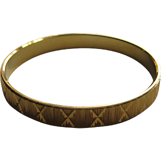 Vintage Crown Trifari BANGLE Cuff Engraved Gold Tone 1960's