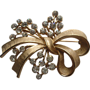 Vintage Crown Trifari FLORAL Flower BOW Rhinestone Brooch Pin Signed
