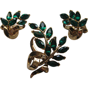 Vintage Crown Trifari Flower Floral Green Rhinestone Brooch Pin Earrings Set Signed