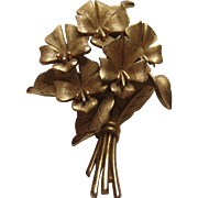 Vintage Crown Trifari FLORAL Flower Spray Brooch Pin Signed