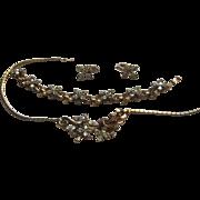 Vintage Crown Trifari Small STAR Flower Rhinestone Parure Set 1950's Necklace Bracelet Clip Earrings