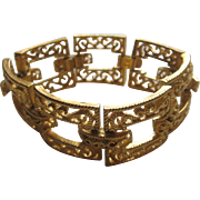 Vintage Crown Trifari LATTICE PANEL Bracelet Gold Tone 1950's