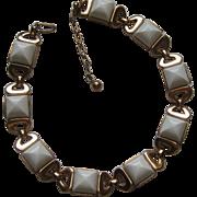 Vintage Crown Trifari Necklace White Plastic Gold Tone 1950's