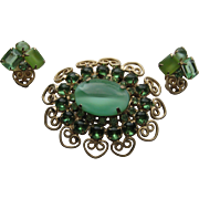 Vintage D & E Juliana Hearts and Scrolls Green Shades Rhinestone Brooch Clip Earrings Demi Parure