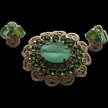 Vintage D & E Juliana Hearts and Scrolls Green Shades Rhinestone Brooch Clip Earrings Demi Parure
