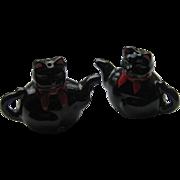 Vintage Black Cat TEAPOT Salt Pepper Rare 1950's Japan Shafford