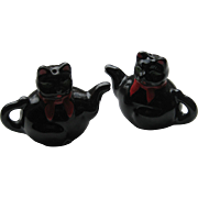 Vintage Black Cat TEAPOT Salt Pepper Rare 1950's Japan Shafford