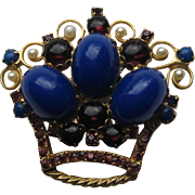 "Vintage Juliana D&E ""Crown""  Pastel Royal Blue AWESOME Brooch Pin BOOK PIECE"