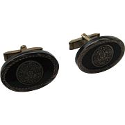 Vintage Mexico Taxco Cuff Links Sterling Silver Art Deco Style Black Onyx Beautiful Eagle 1 1940's