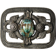 Vintage Egyptian Revival SIGNED Sterling Silver Filagree King Tut Style Pin Brooch 1920's