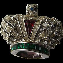 "Early Vintage Coro Craft Royal Crown  ""MINI""  Rhinestone Brooch Pin Signed"