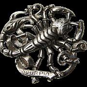 Vintage CINI Zodiac Sterling 3-D SCORPIO Scorpion Brooch Pin