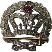 Vintage ORA Royal Crown 1940's Pendent Pin Brooch