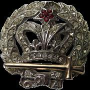 Vintage ORA Royal Crown 1940's Pendent Pin Brooch