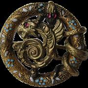 Vintage Victorian Griffin Snake Garnet Enamel Floral Dragon Pin Brooch